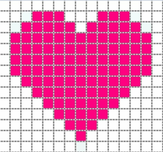 только рисунки по клеточкам маленькое сердечко минус