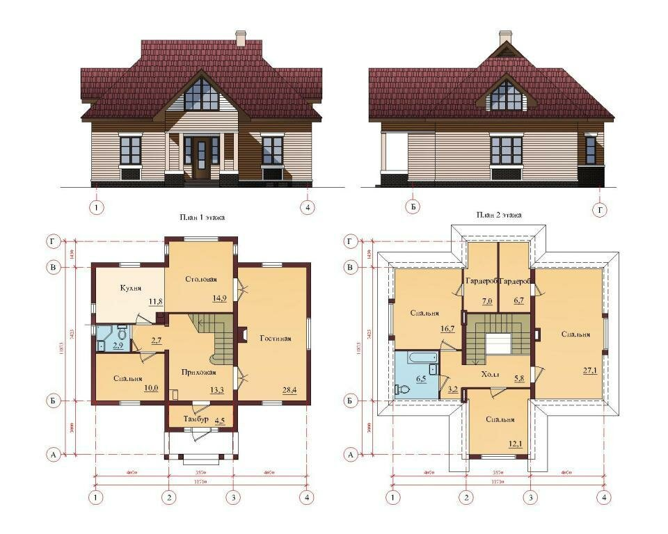 Проекты домов и коттеджей чертежи схемы фото