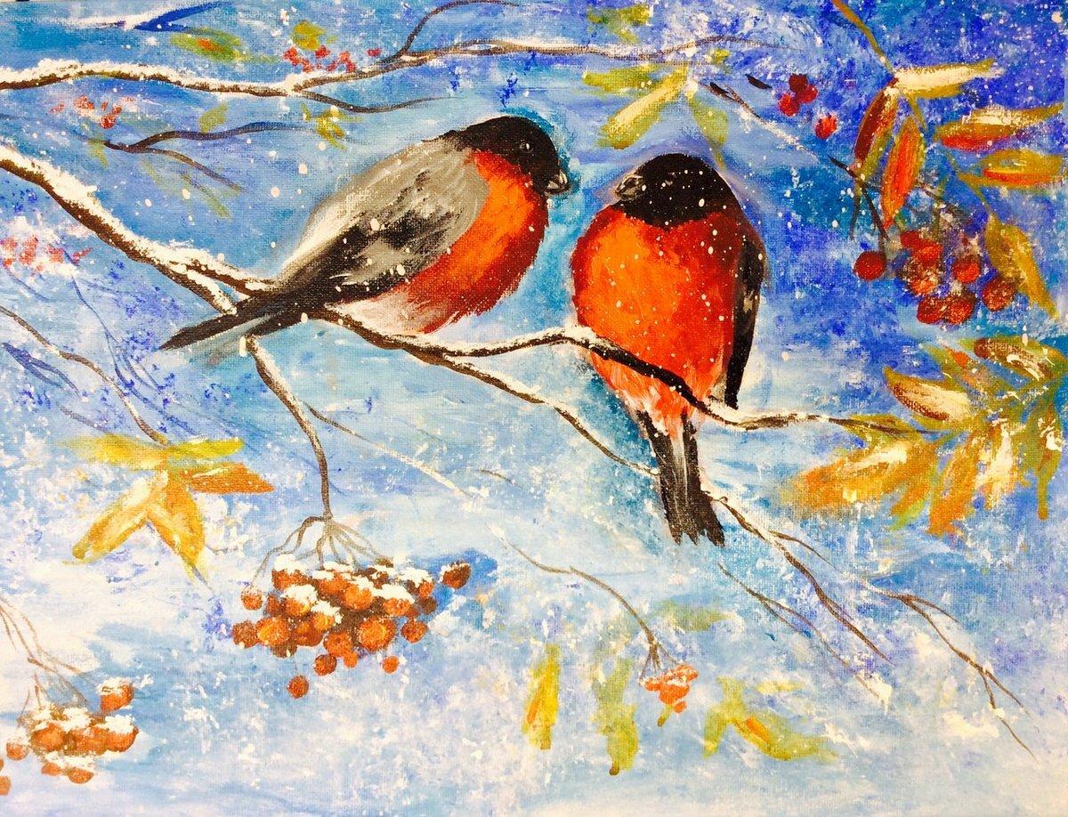 Картинки про зиму красками
