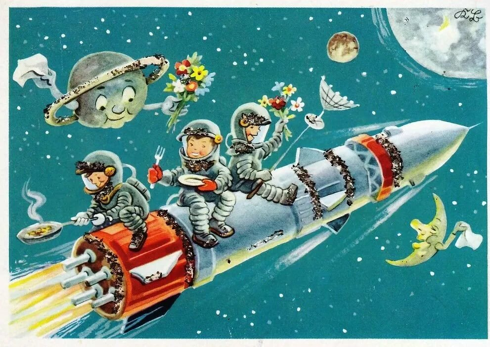 которую открытки на день космонавтики советские открытки стильно