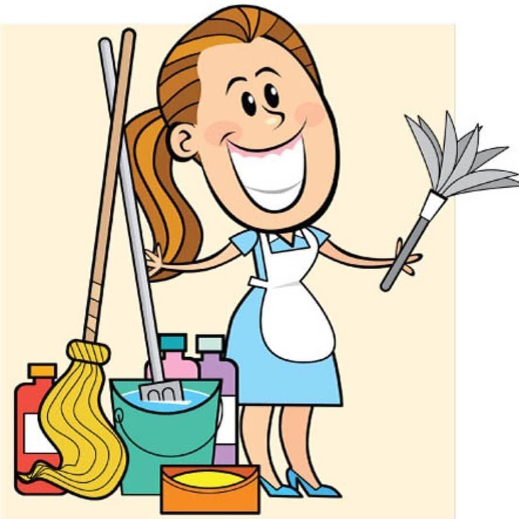 Открытка веселая уборщица