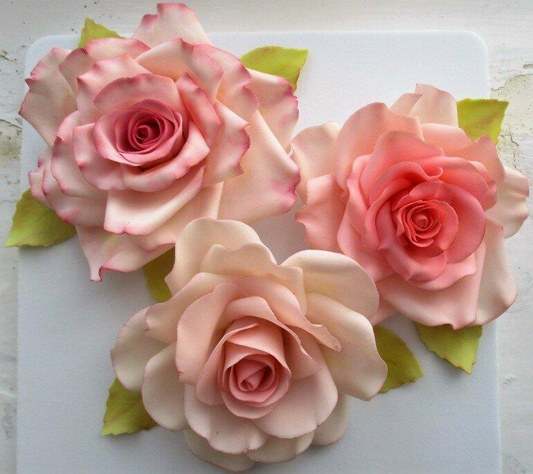 пошаговое фото лепки розы акрилом мастику декор