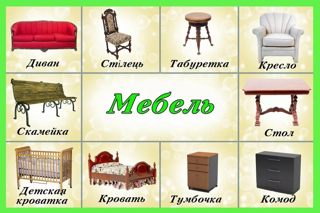 Картинки с изображением мебели для занятий с детьми