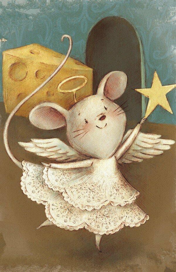Милая мышка открытка