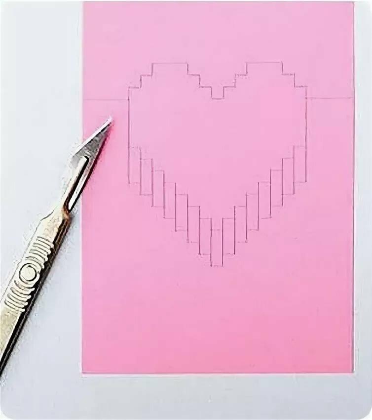 Как сделать из бумаги 3д открытку сердце