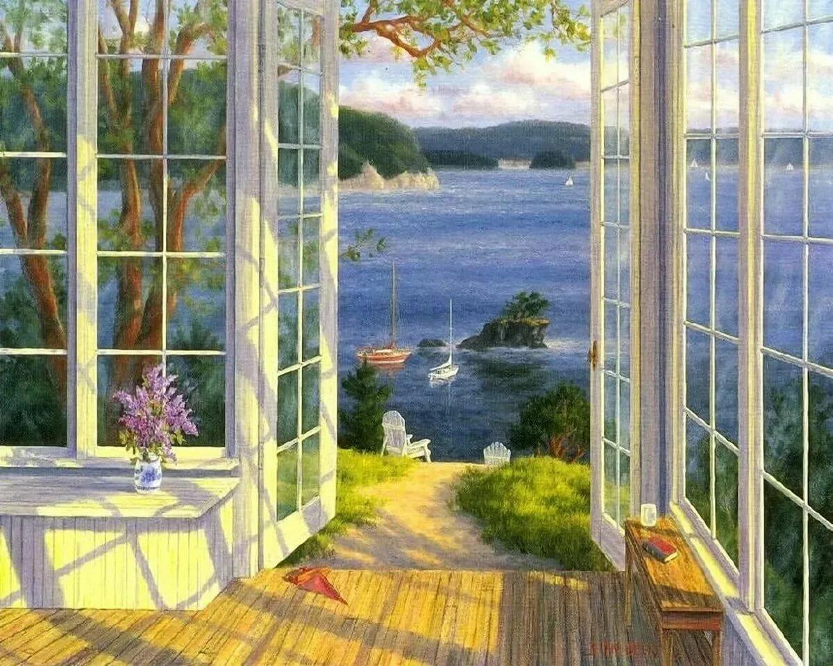 тогда картина вид из окна в сад драка