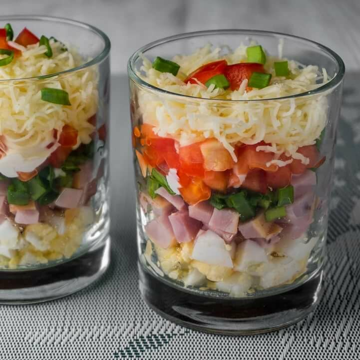 Салаты в бокалах рецепты с фото