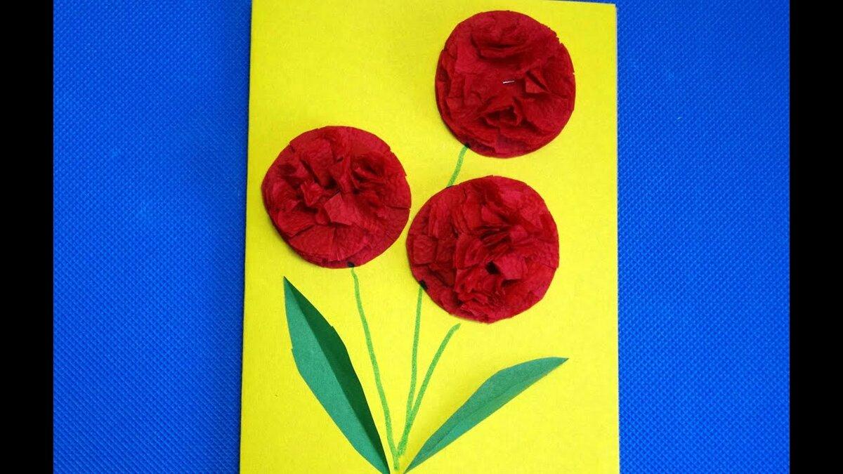 Как сделать открытки из салфеток на 8 марта