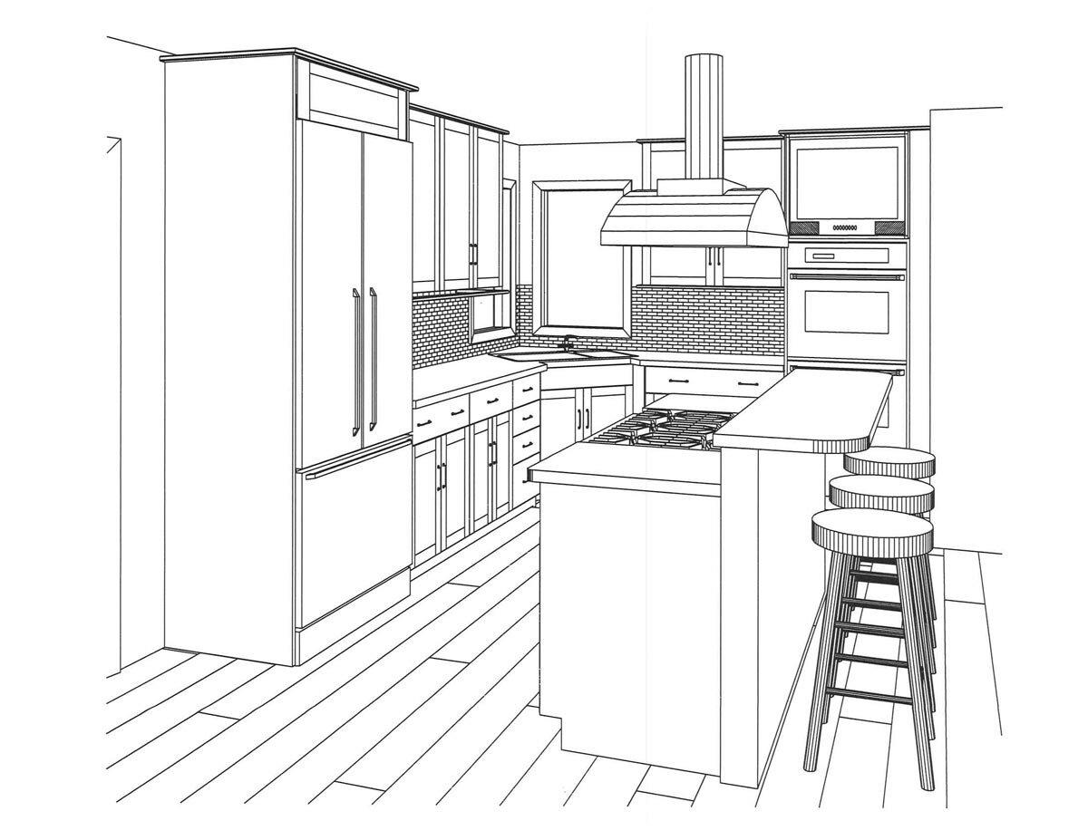 Картинки кухня раскраски