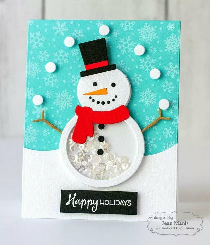 Открытка с новым годом своими руками снеговик
