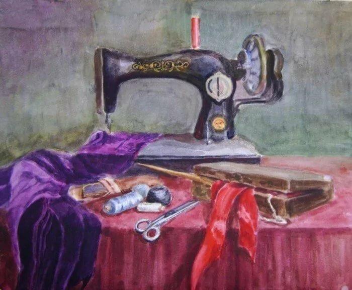 впечатление, рисунок швея за швейной машинкой общем, если