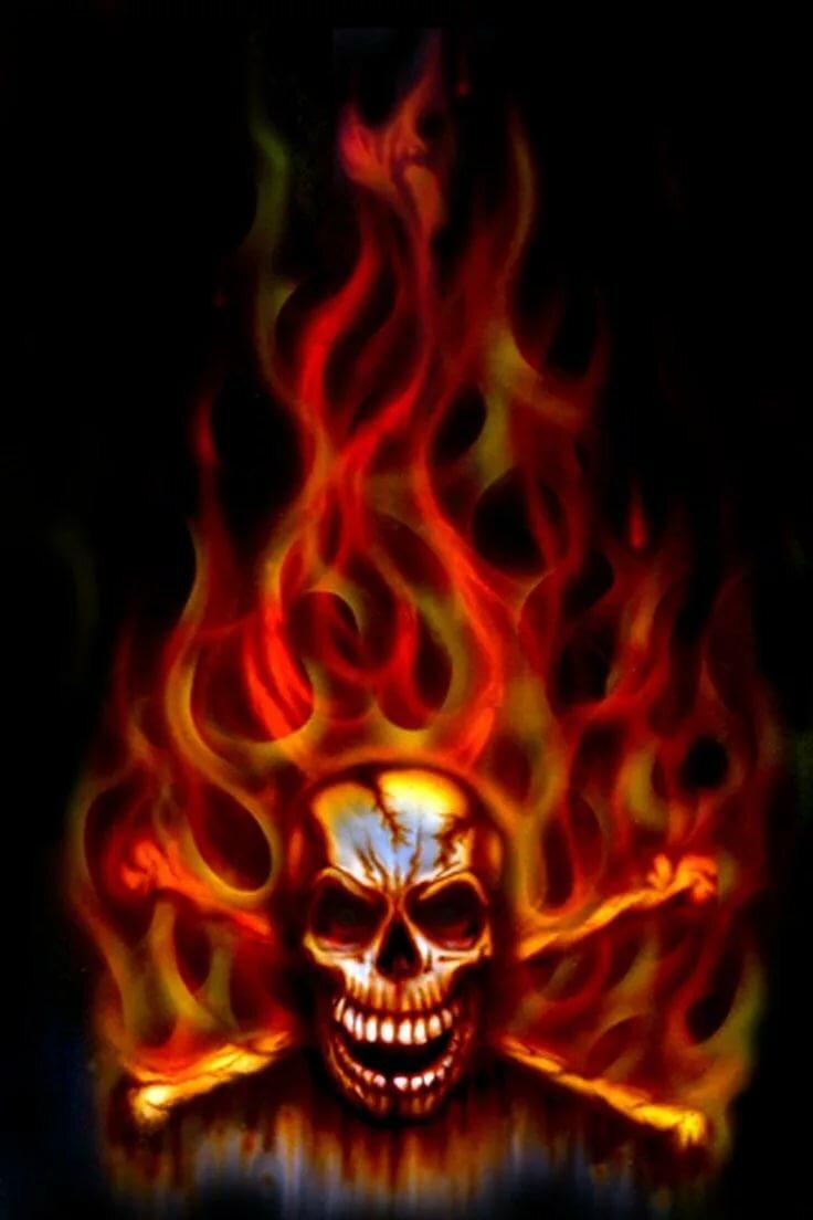 Картинки скелета в огне