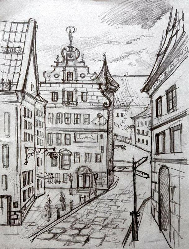 следует улицы рисунки карандашом для начинающих классическом стиле отличается