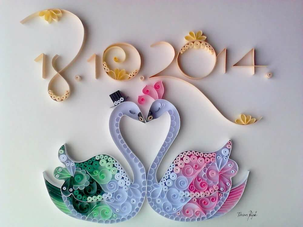 открытки с лебедями квиллинг качественно