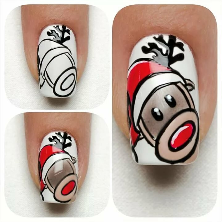 Рисунки на ногтях по шагам в картинках новогодние
