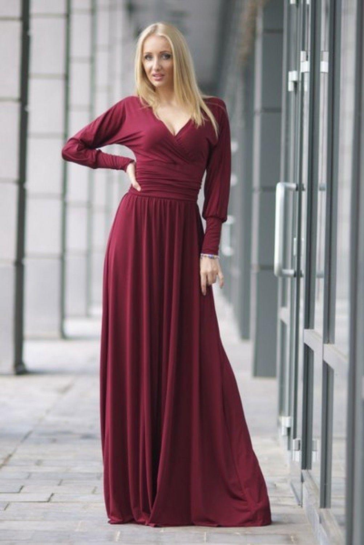 Длинные бордовые платья фото