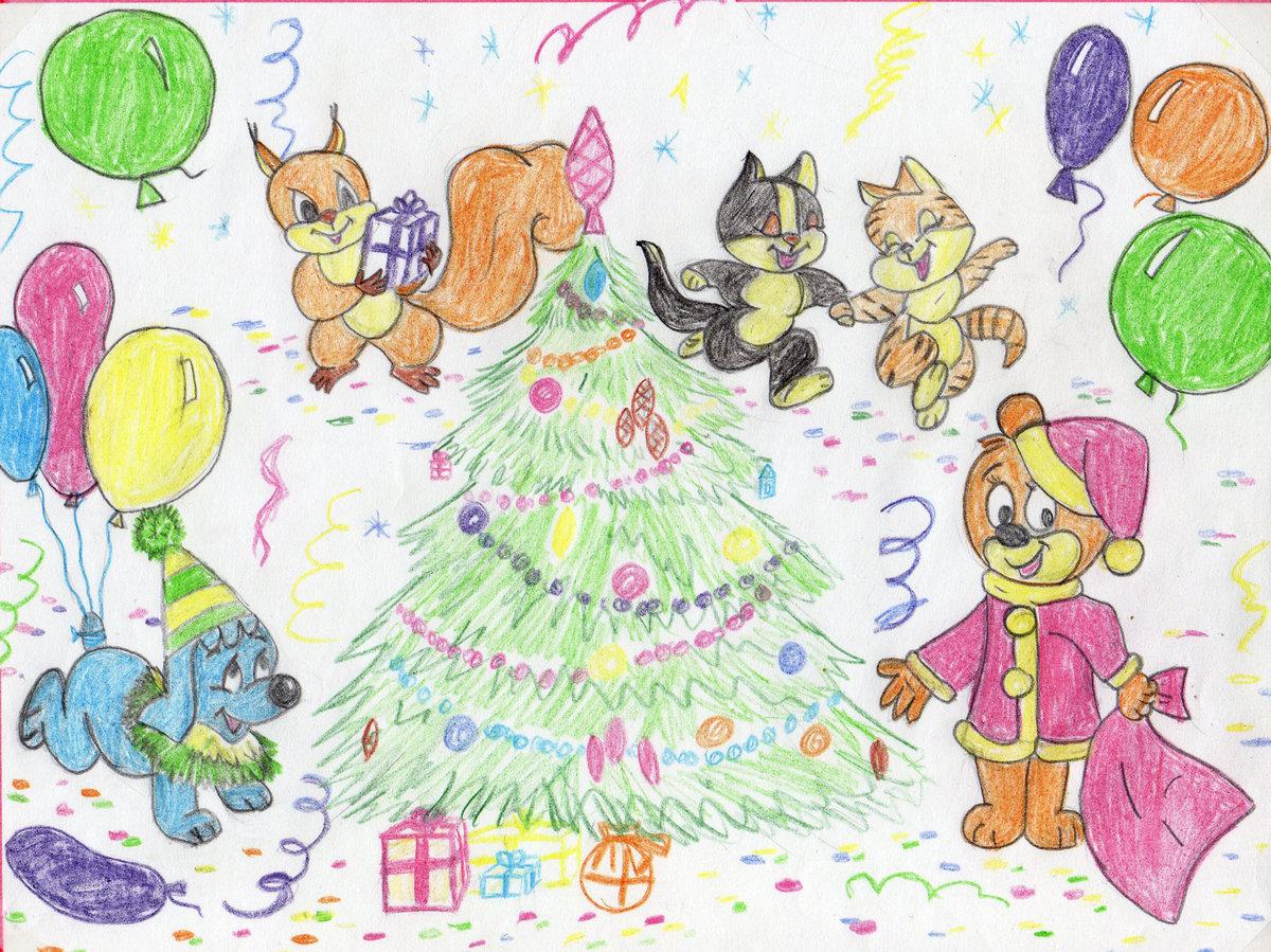 праздничная открытка на новый год рисунок