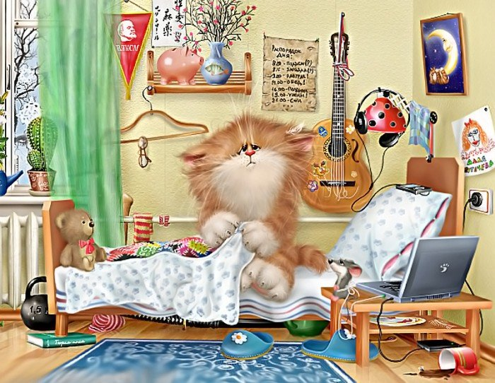 Открытки спокойной, доброе утро кот картинки мультяшная