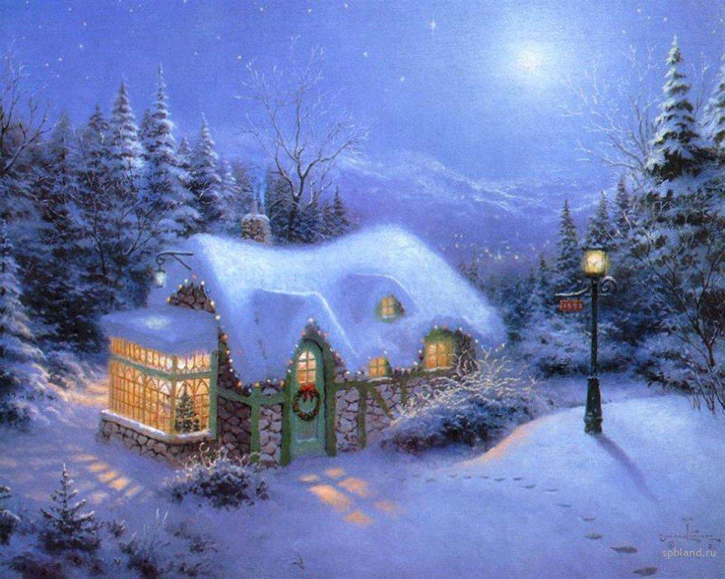 Зимний пейзаж открытки картинки