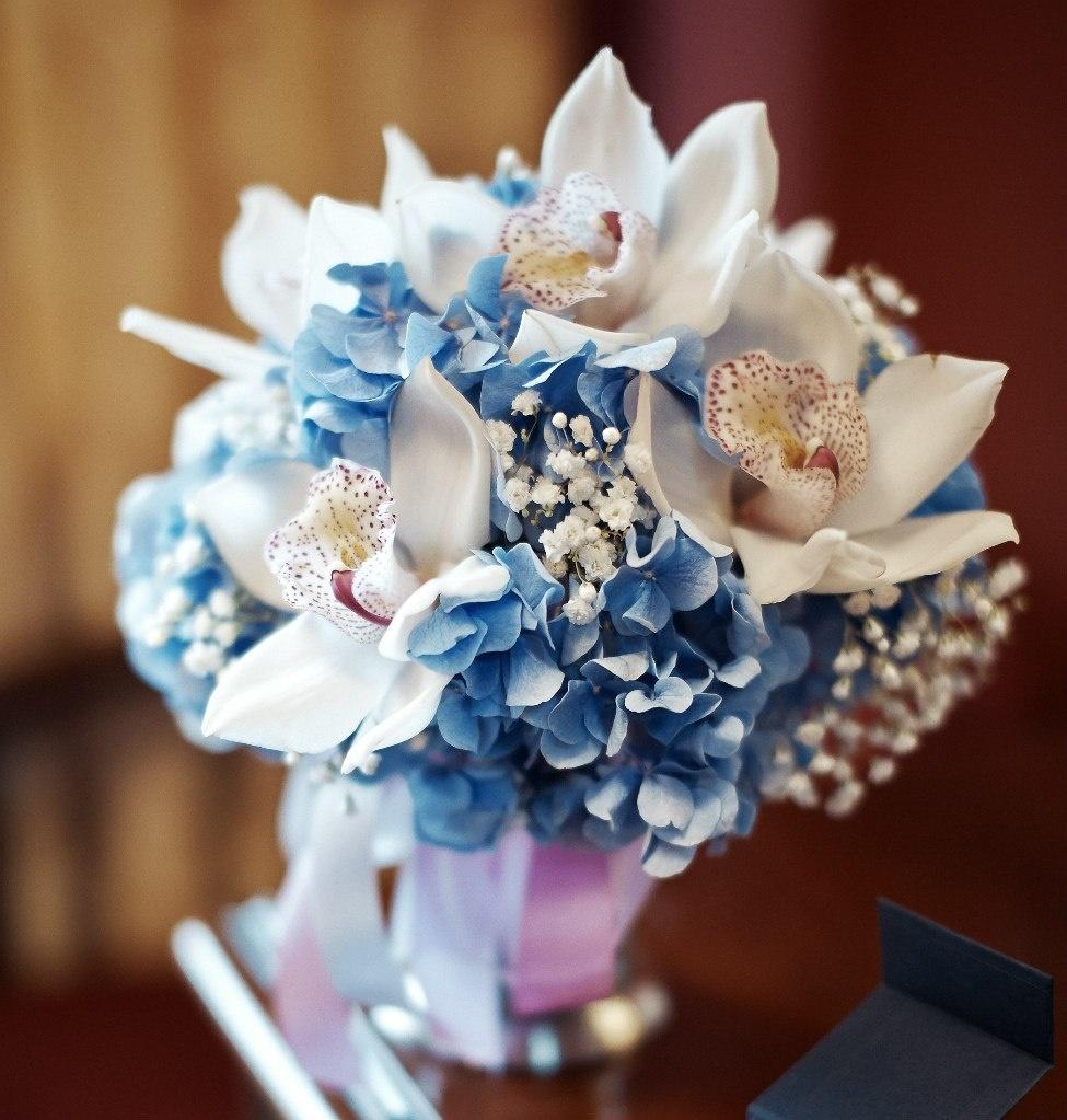 Гортензия с орхидеей свадебный букет цена, цветок
