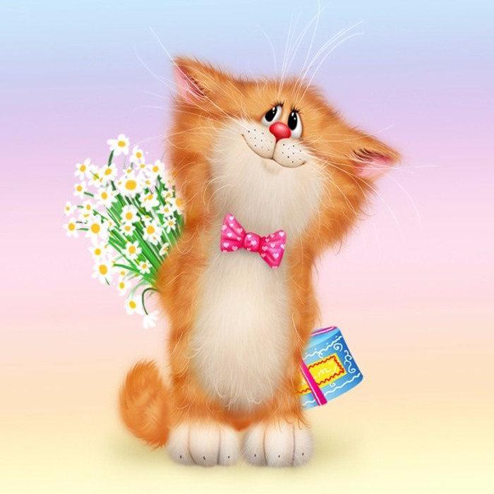 Открытка с котами поздравляю
