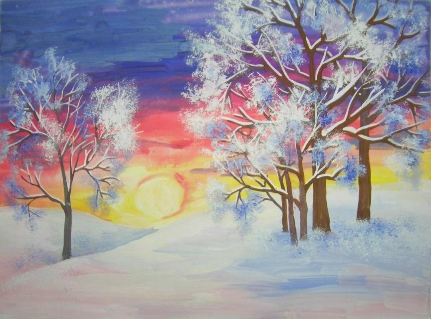Картинки зимнего пейзажа для срисовки
