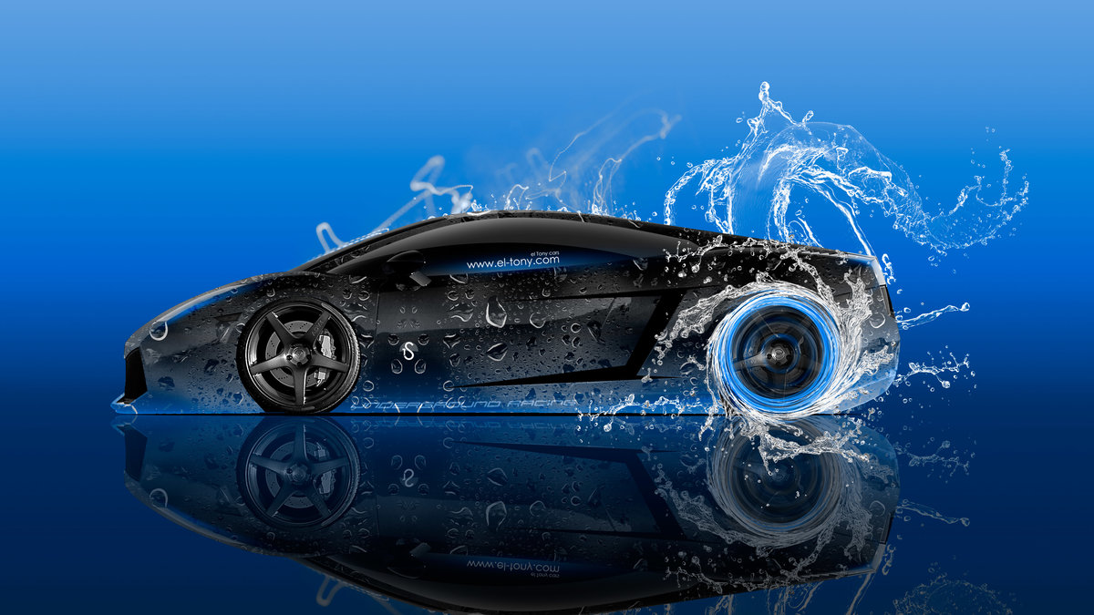 Lamborghini Gallardo Side Super Water Car 2016 Blue