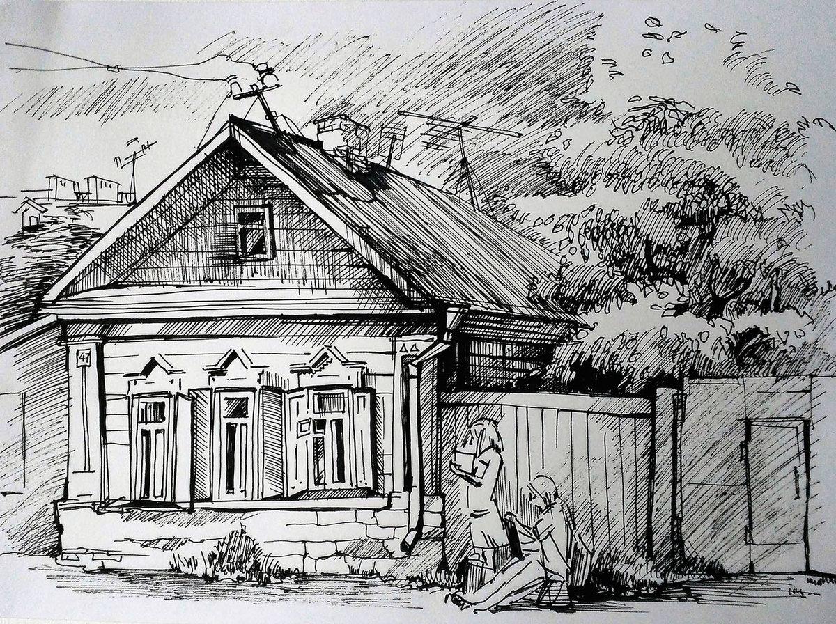 Картинки старых домов карандашом