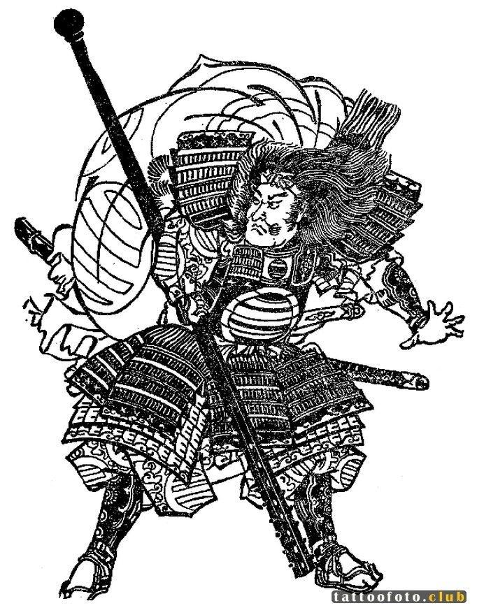 Самурай картинка черно белая