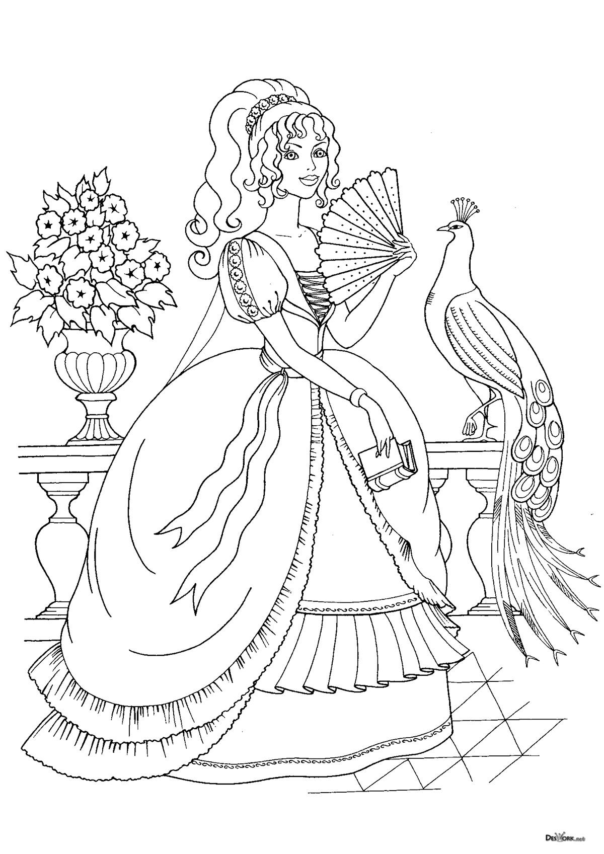 «Принцесса в пышном платье и с веером, раскраска ...