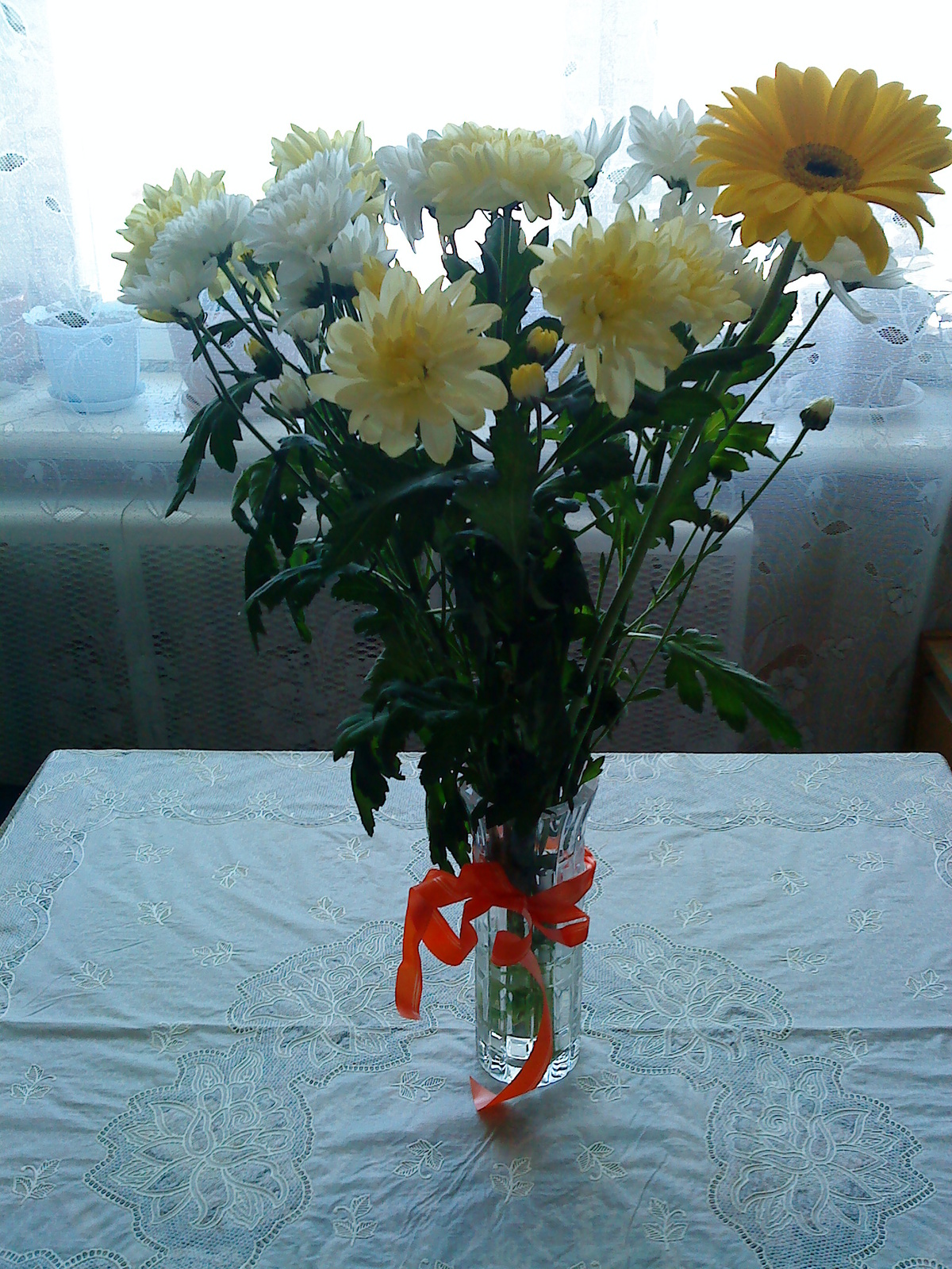 каждой модели фотографии хризантем в вазе на окне нередко становился первой