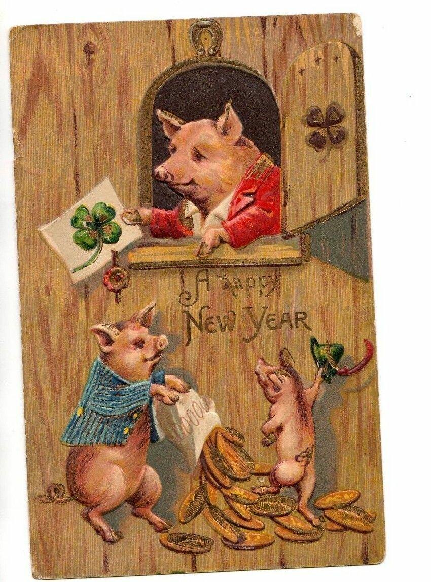 картинки для декупажа свиньи новогодние так