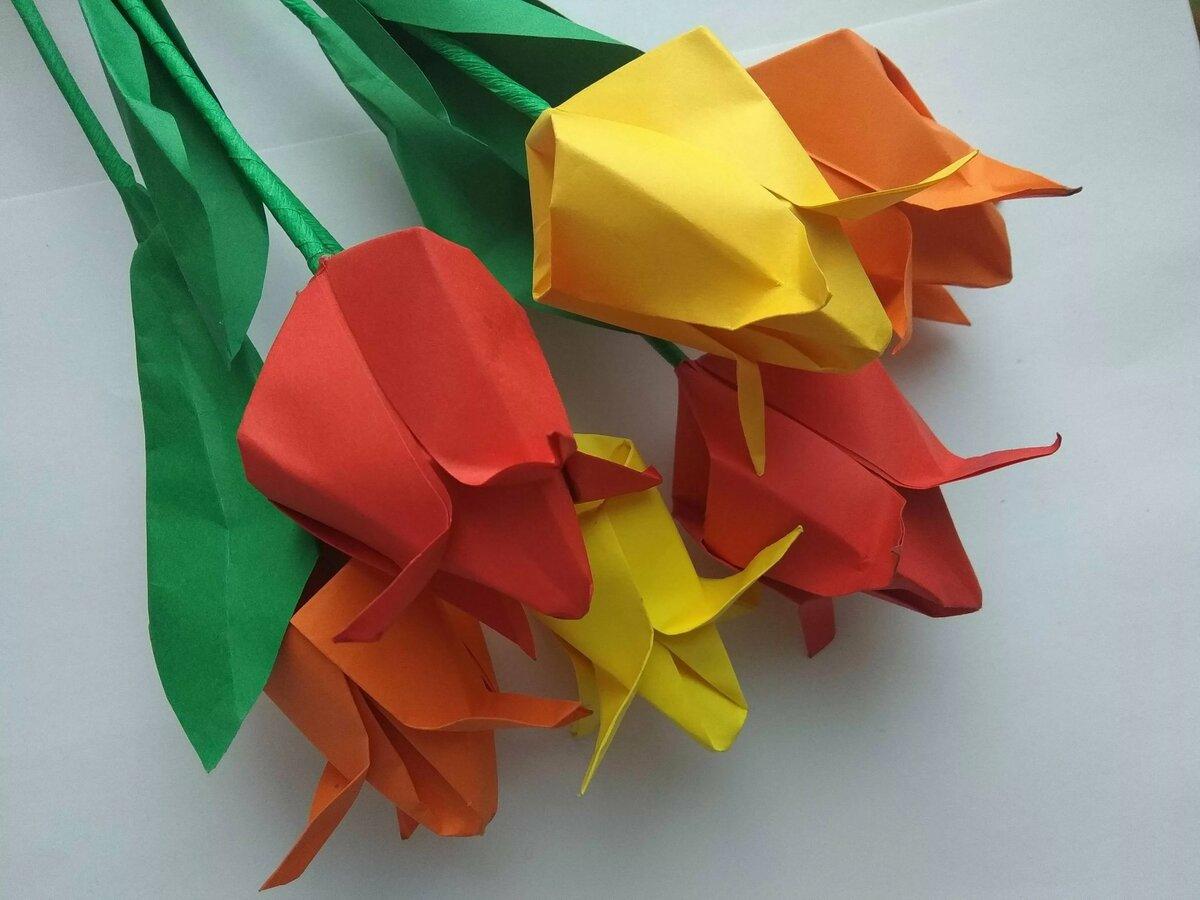 тюльпан из цветной бумаги мастер класс с пошаговым фото даже самого