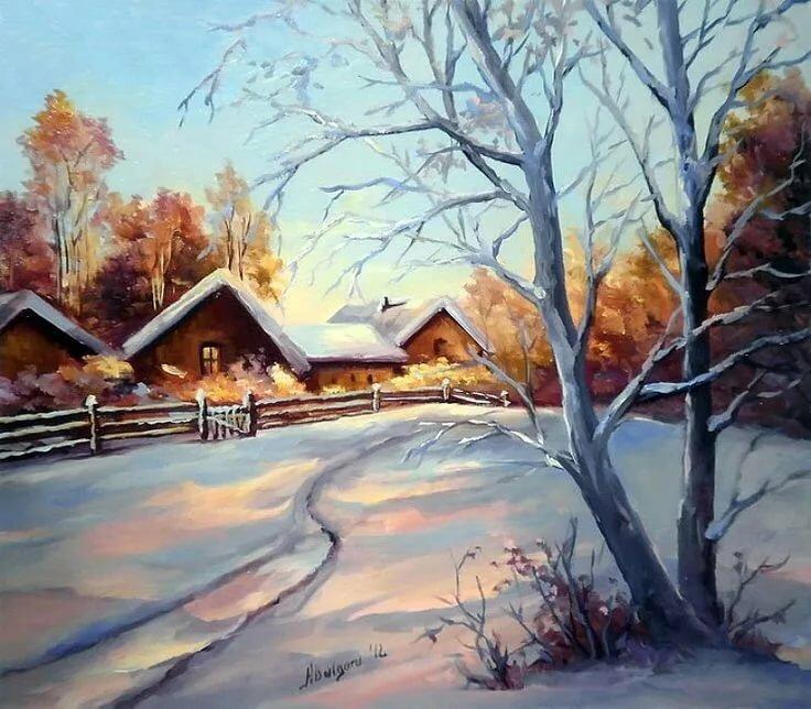 Картинки зимний пейзаж в деревне картинки