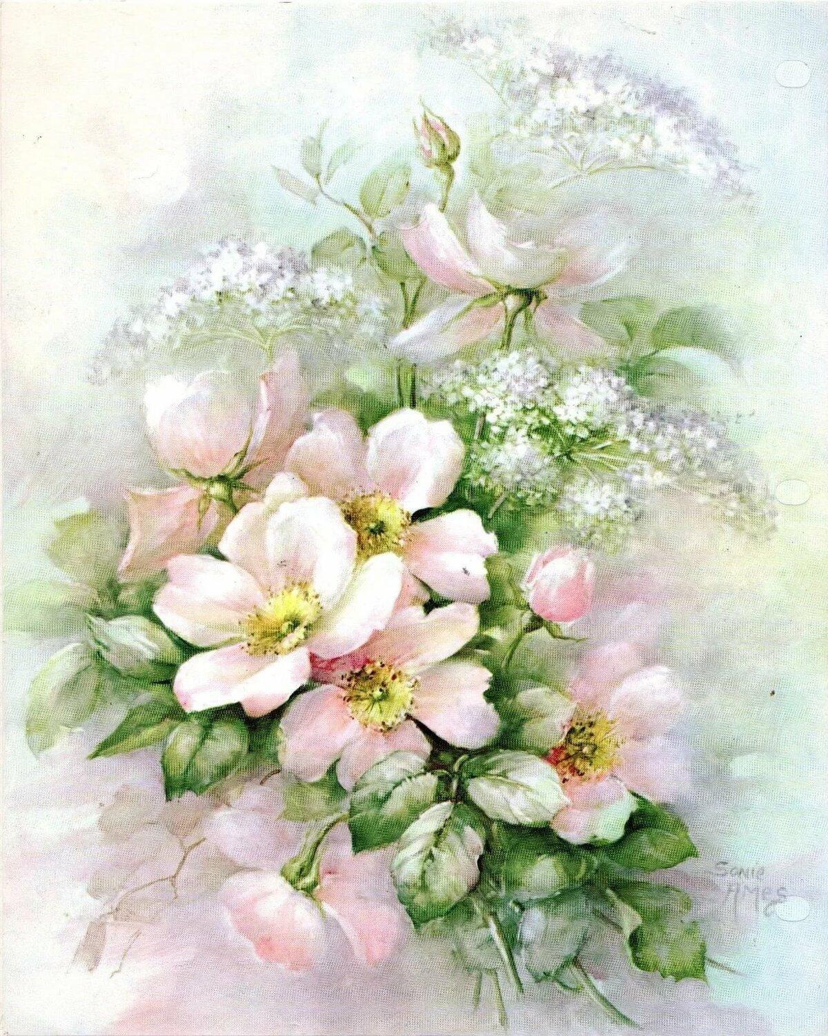 Букеты цветов нежные рисунки
