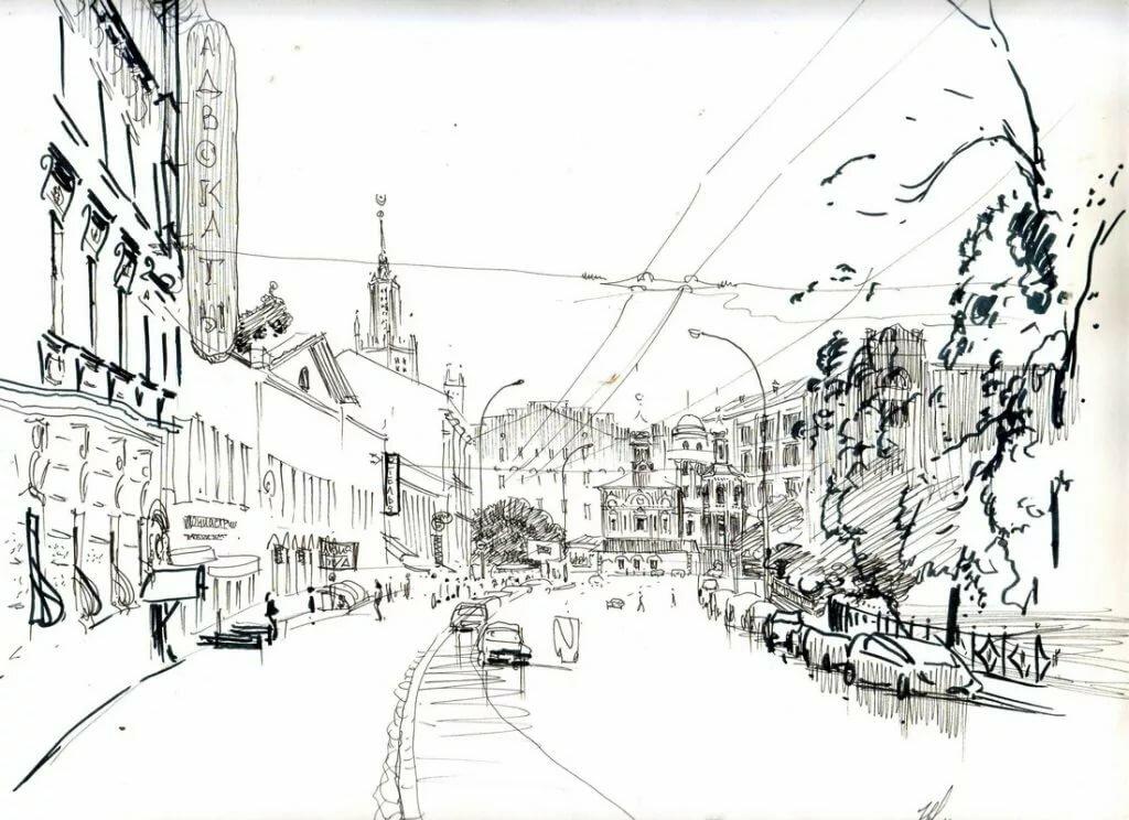 черно белый рисунок пейзаж города отделки потолка