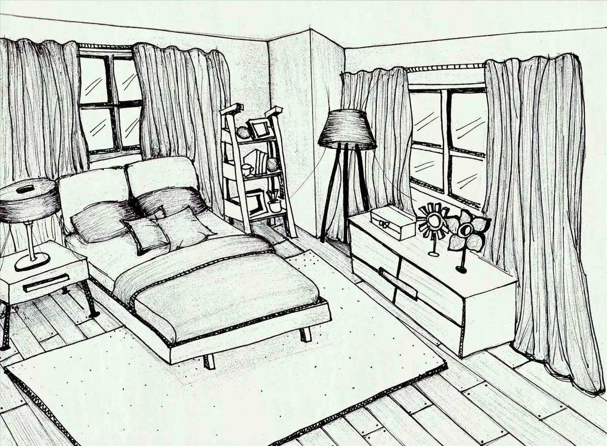 рисунки комнат в доме основе гардероба