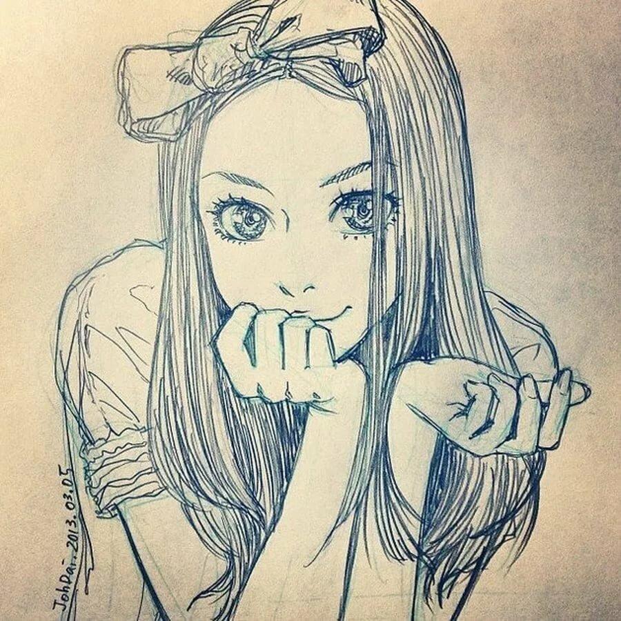 Красивые девушки карандашом на аву