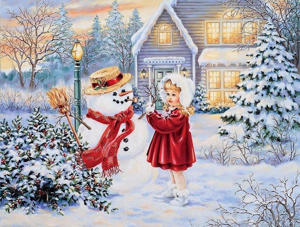 Открытка снеговик у дома