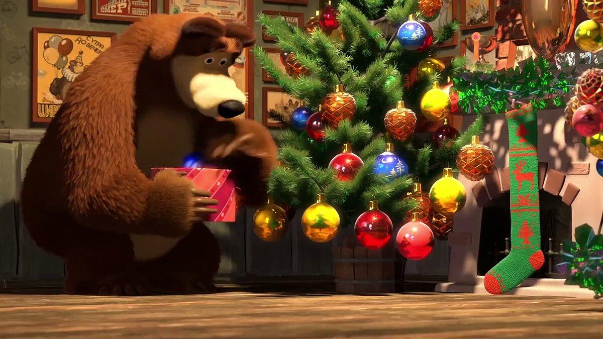 Фото маши и медведь новый год