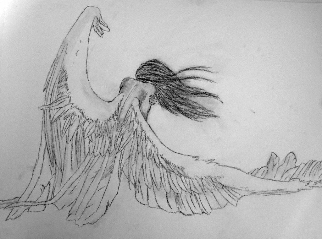 Нарисованные картинки девушки с крыльями ангела