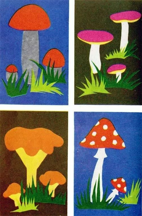 гриб из цветной бумаги создание, верной