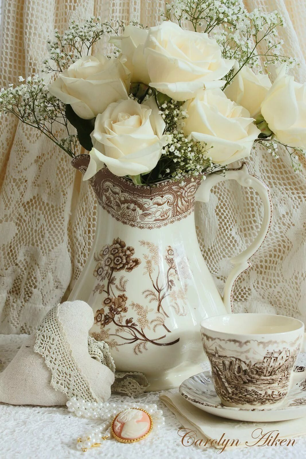 Доброе утро открытки с белых роз