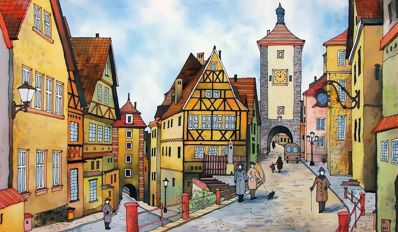 Картинки сказочного города карандашом