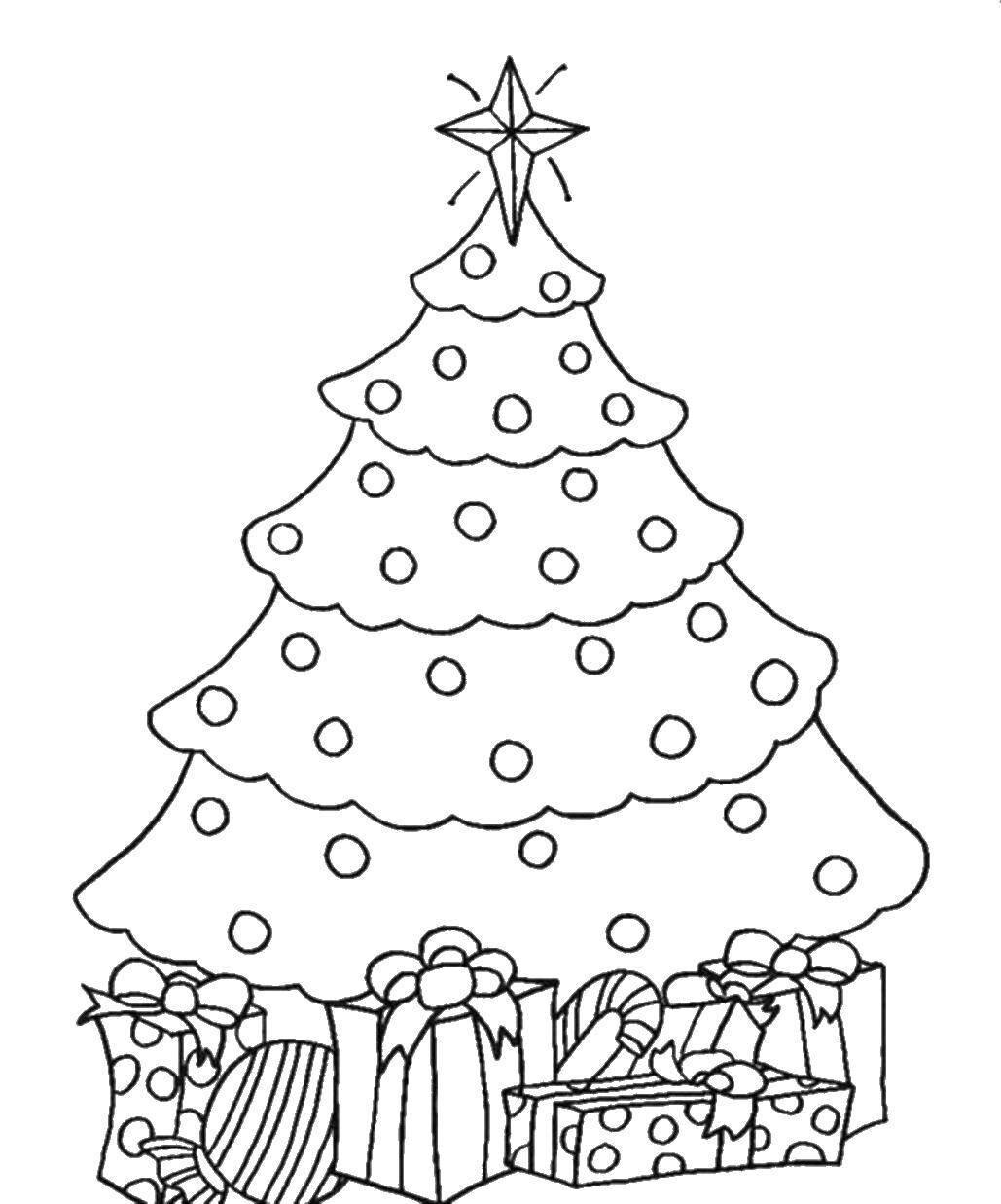 Новогодняя елка картинка для детей раскраска