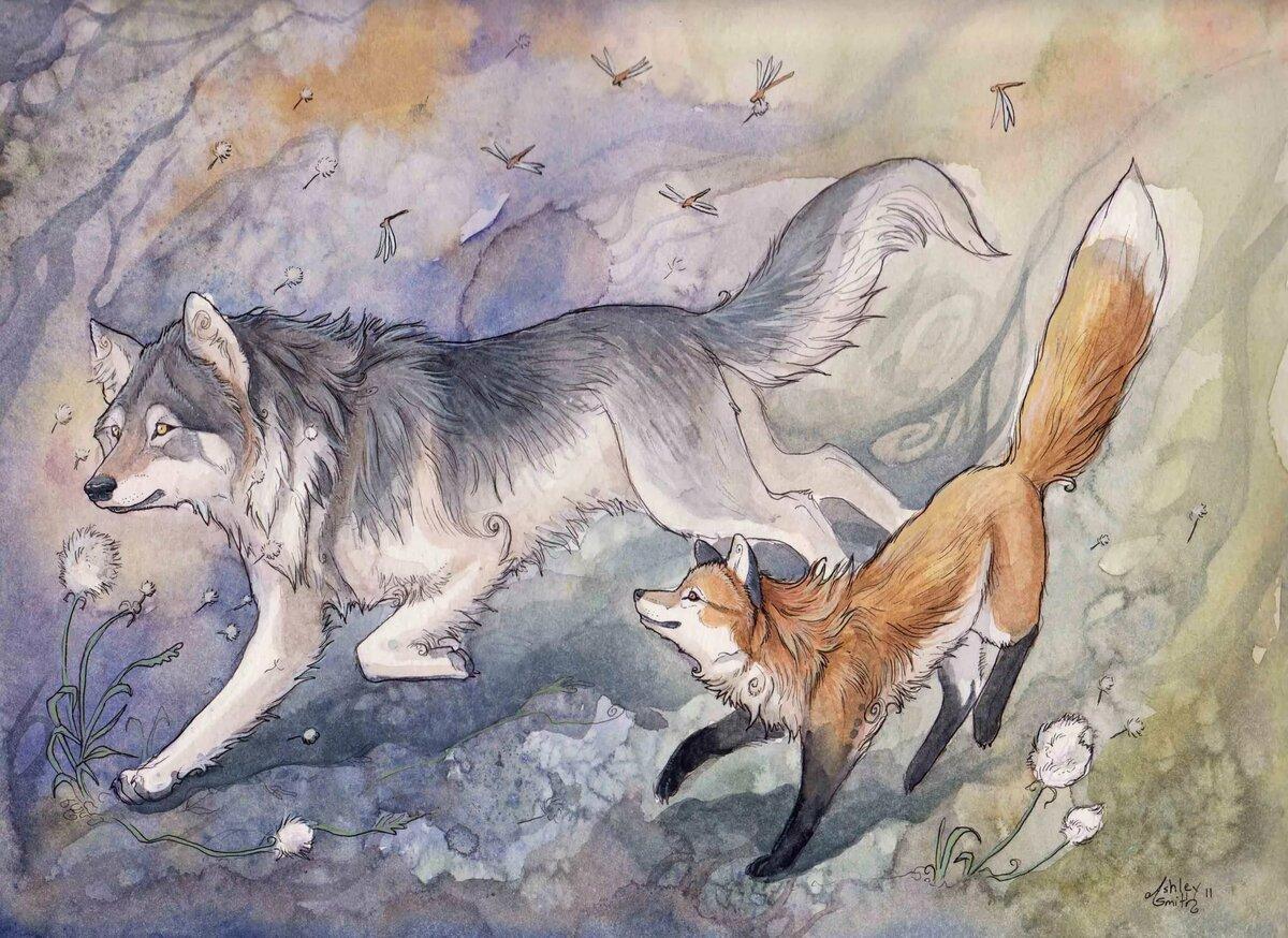 картинки лисы с лисятами от волка должен