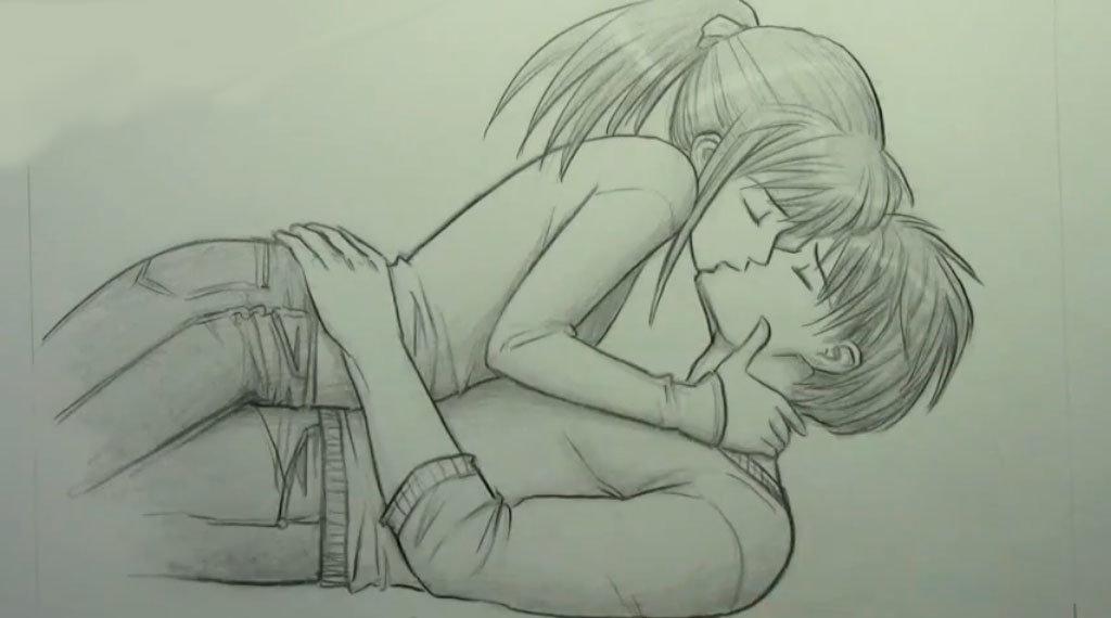 Картинки девочка и мальчик целуются для срисовки