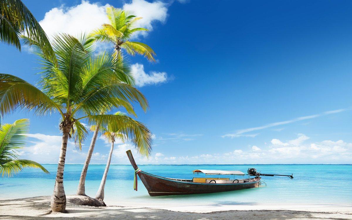 Thailand Beach Palms Trees Sea Boat Wallpaper 2880x1800 Card