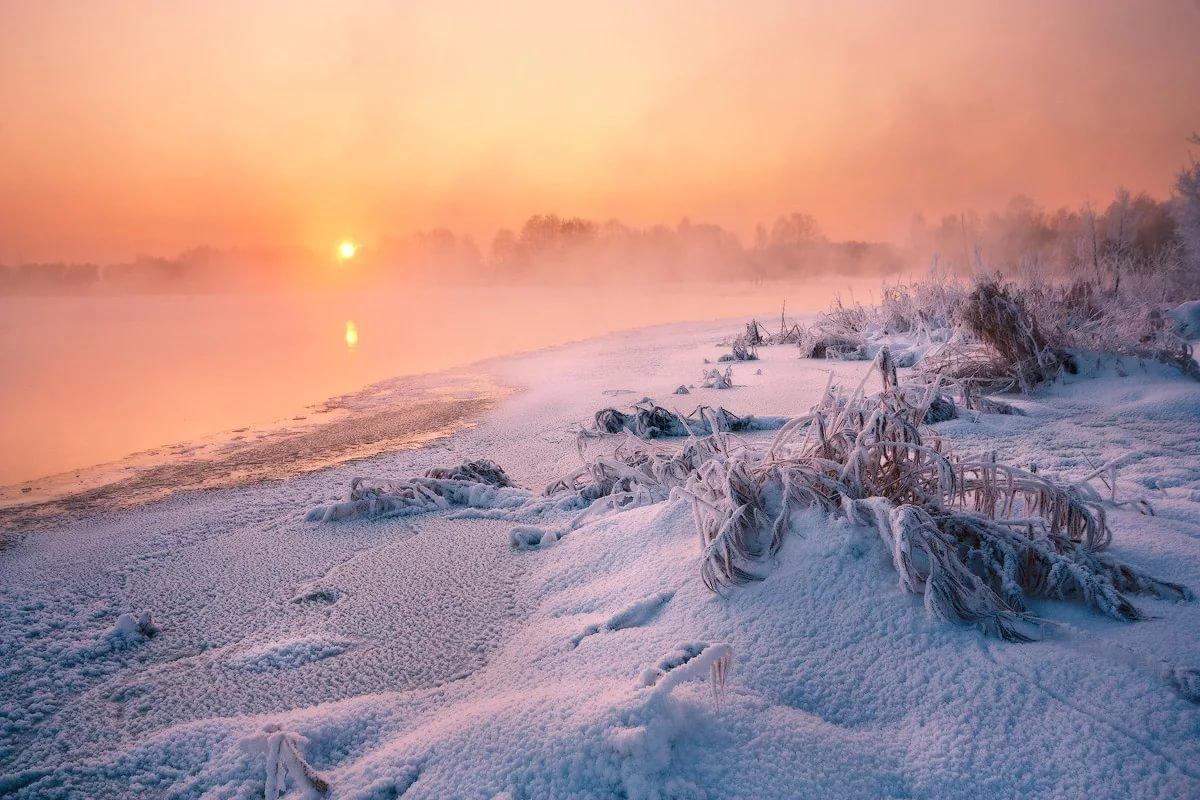отдельно стоящих восход зимой фото курорта