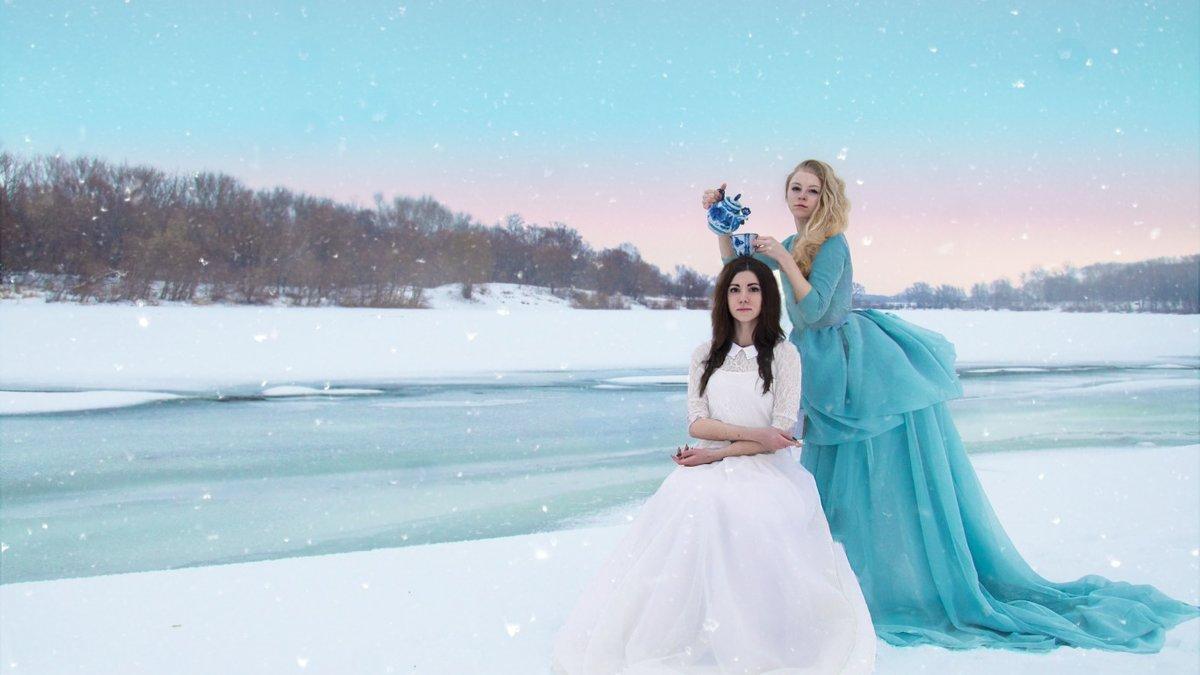 фотосессия зимняя возле речки сувенирная